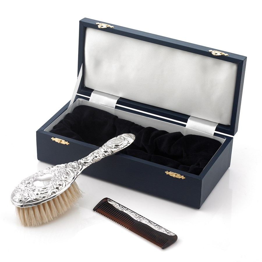 Sterling Silver Girls Brush Comb Set Silver Baby Gifts