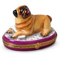 Pug with Bone Limoges Box
