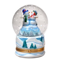 Musical Snow Globe with Snowmen Limoges Box