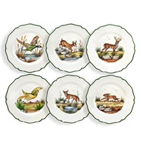 Ceramic Scallop Edged Dinner Plates with Animals, Set of 6