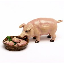 Austrian Bronze Pig Mother with Babies Figurine