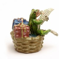 Austrian Bronze Frog in Basket with Gifts Figurine