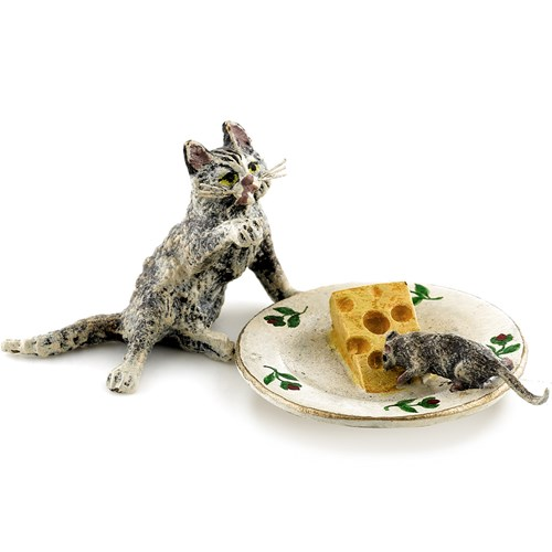 Austrian Bronze Cat, Mouse, Cheese Plate Figurine