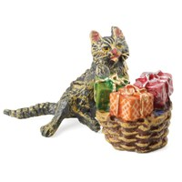 Bronze Cat w/ Basket of Gifts