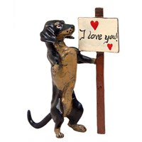"Austrian Bronze Dachshund with ""I Love You Sign"" Figurine"