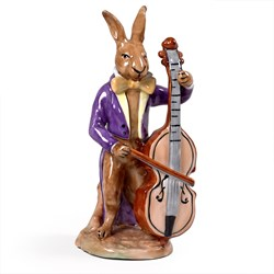 Porcelain Hare with Bass Figurine