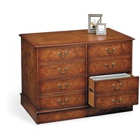 Burr Elm Four Drawer File Cabinet