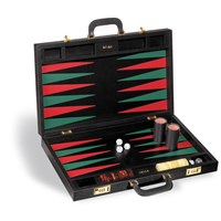 Italian Leather Red, Green, and Black Backgammon Set