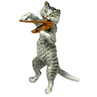 Austrian Bronze Small Cat with Violin