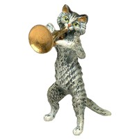 Austrian Bronze Small Cat with Large Horn