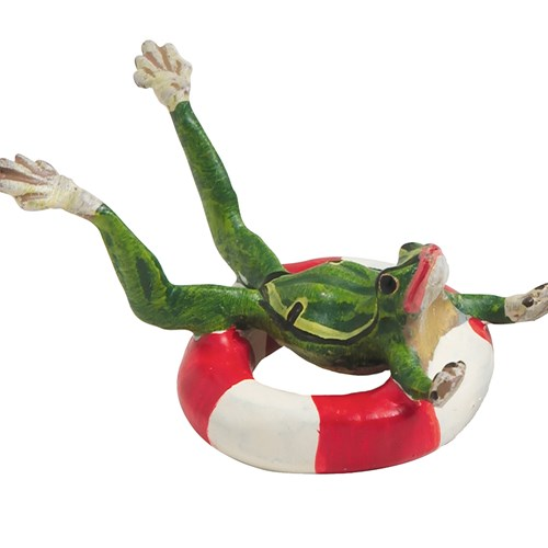 Austrian Bronze Frog with Life Preserver Figurine
