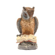 Austrian Bronze Owl on Rock with Book Figurine