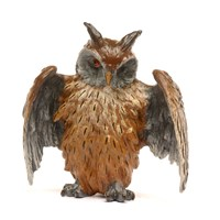 Austrian Bronze Owl with Spread Wings, Large Figurine