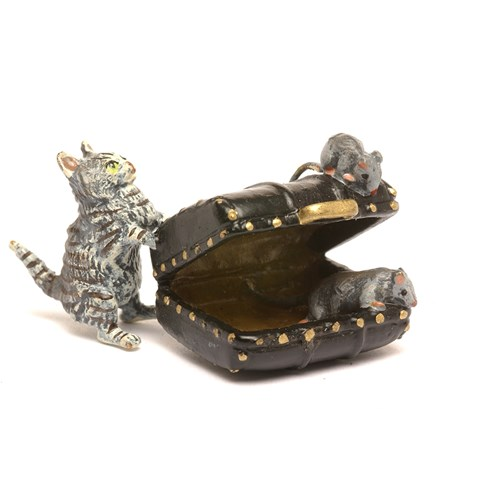 Austrian Bronze Cat with Luggage and Mice Figurine
