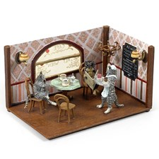 Austrian Bronze Cat Cafe with Cats & Dog