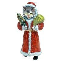 Austrian Bronze Cat Santa Claus Figurine
