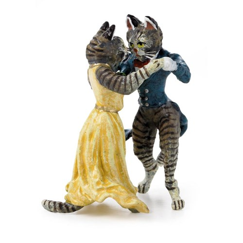 Austrian Bronze Pair of Cats Dancing Figurine