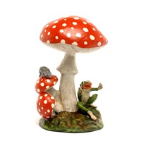 Austrian Bronze Frog, Mouse, 3 Red-White Mushrooms Figurine