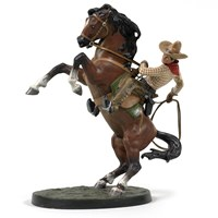 Austrian Bronze Cowboy on Horseback, Large