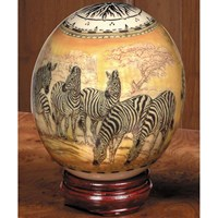 Decoupage Ostrich Egg with Zebras