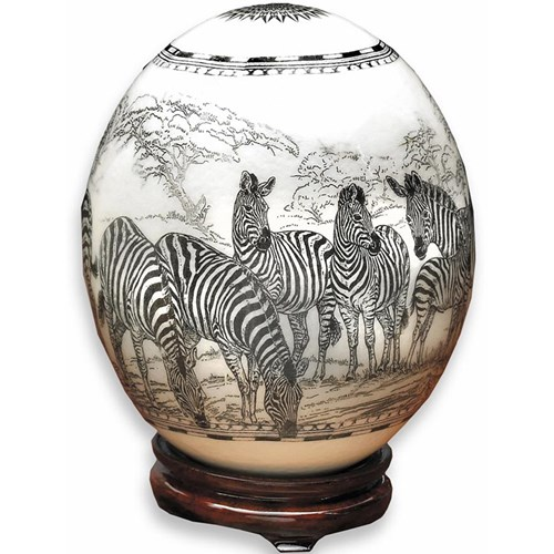 Black & White Ostrich Egg: Zebras