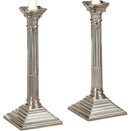 Silverplated Corinthian Candlestick, Pair