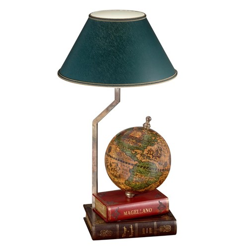 Globe & Book Motif Desk Lamp Green Shd
