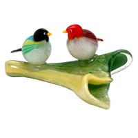 Murano Two Birds on Yellow with Green Base