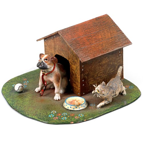 Austrian Bronze Doghouse with Dog & Cat