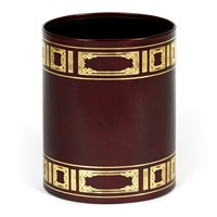 Handtooled Oval Leather Wastebaskets