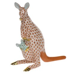 Herend Kangaroo and Baby Figurine