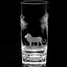 Queen Lace Crystal Highball Glasses Kenyan Wildlife