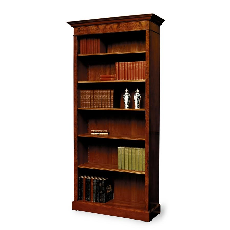 Tall Yew Bookcase With Inlay