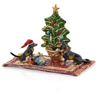 Austrian Bronze Christmas Scene with Dachshunds