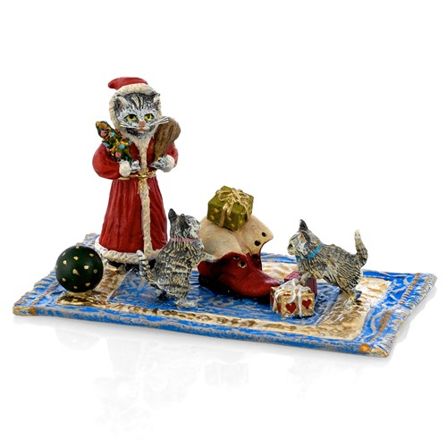 Austrian Bronze Christmas Scene with Cats Figurine