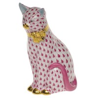 Herend Cat with Bow Figurine