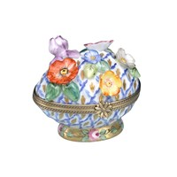 Limoges Woven Egg with Flowers