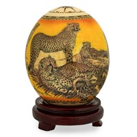 Decoupage Ostrich Egg with Cheetah Family