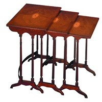 Three Nesting Tables Mahogany Fan Inlay