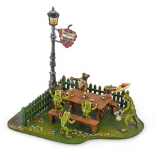 Austrian Bronze 4 Frogs & 3 Small Dogs in Wine Garden Figurine