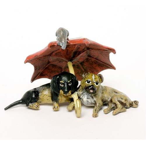 Austrian Bronze Dachshund and Pug with Umbrella Figurine