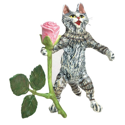 Austrian Bronze Cat Standing with Rose