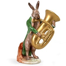 Porcelain Hare with Tuba Figurine
