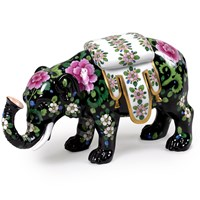 Dresden Porcelain Elephant with Floral Pattern