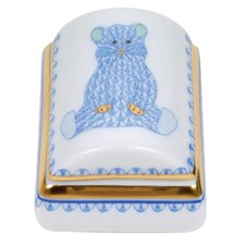 Herend Tooth Fairy Box Blue with Bear
