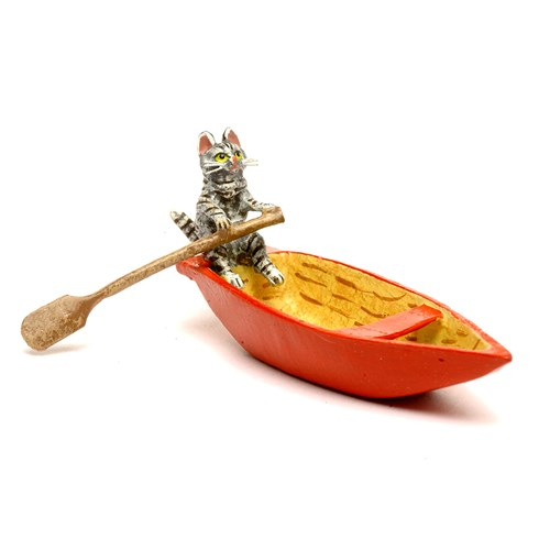 Austrian Bronze Cat in Canoe Figurine