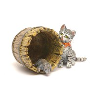Austrian Bronze Cat with Mouse and Barrel Figurine