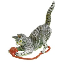 Austrian Bronze Cat with Ball of Red Yarn