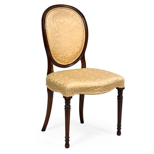 Upholstered Side Chair, Gold Damask