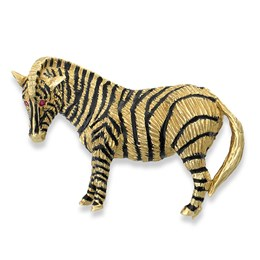 Zebra Pin 18K Gold Enamel Ruby Eyes